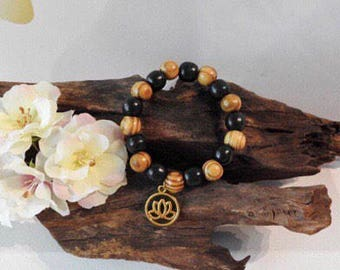 Natural Wooden Bead healing stretch bracelet with Golden Lotus Charm
