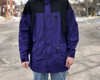 Vintage Purple Helly Hansen Gore-Tex Parka style jacket with packable hood
