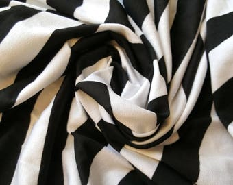 """Black and white 1"""" striped modal lycra blend knit fabric, one yard - striped knit fabric - poly rayon blend fabric - cotton lycra fabric"""