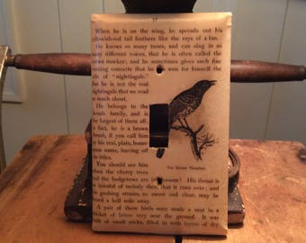 Switch plate cover with bird print