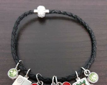 Leather Pairs Charm Braclet