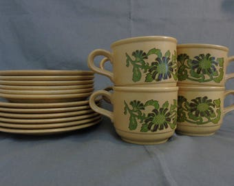 6 kiln craft cups, saucers and side plates