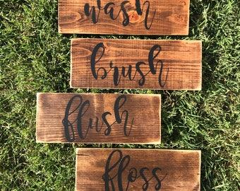 Set of 4 bathroom signs