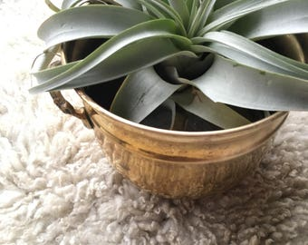 REDUCED-10% OFF Vintage Brass Planter, Solid Brass Cauldron , Indian Footed Brass