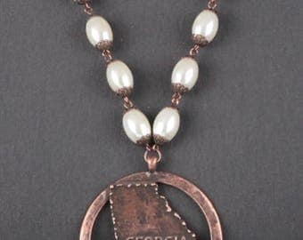 sweet georgia peach necklace in bronze with pearls