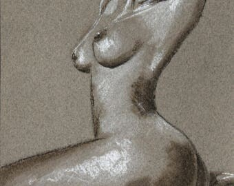 Seated nude woman drawn in pastel, artwork, sensual pose nude art, nude art