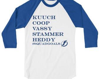 Tampa Bay Lightning Hockey Kucherov, Cooper, Hedman, Vasilevsky, Stamkos Squad Goals 3/4 sleeve Mens raglan shirt