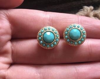 Gold + Teal Stud Earrings