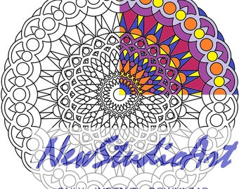 Printable Mandala Coloring Page-Art Therapy-Adult Coloring Page-Antistress-Coloring for Relaxation-Instant Digital Download - MANDALA 003
