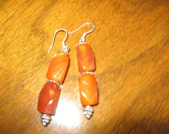 Red Agate & Sterling Earrings