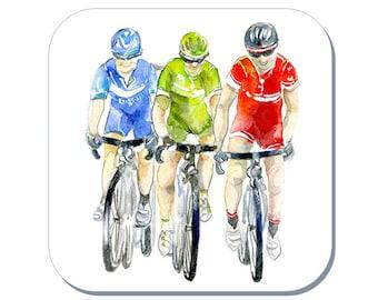 Bike Race - Cycling Coaster (Corked Back). From an original Sheila Gill Watercolour Painting