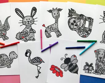 Colouring pages, Colouring pages animals, Valentine's colouring pages. Coloring pages, Coloring page set, Colouring page set.