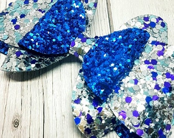 Blue and silver bow/ blue franchi bow/ silver franchi bow/ glitter bow/ glitter bows/ blue glitter bows/ blue glitter bows/ girls hair bows