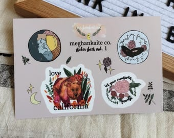 California Love Sticker Sheet perfect for hydroflasks
