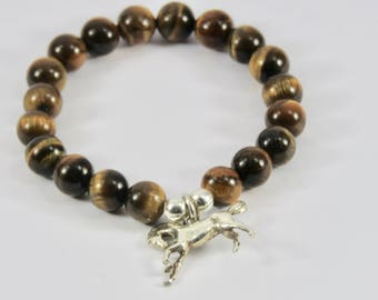 Horse bracelet Tiger Eye stones (1x 1.2 cm)