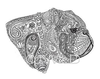 Engels Bulldog Zen tekening zwart / wit