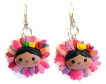 Pink leaves Mexicanitas earrings.