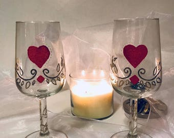Valentine's Day Gift Sale- Hand Painted Wine Glasses ( set of 2)