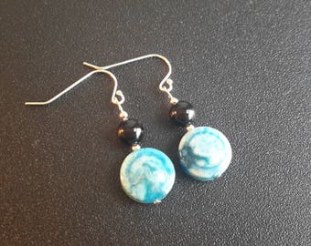 Sterling Silver Crazy Blue Lace Agate and Onyx Earrings