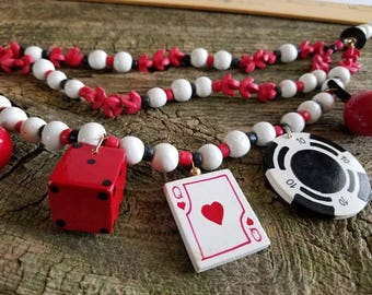 Vintage Poker/Gambling Novelty Necklace