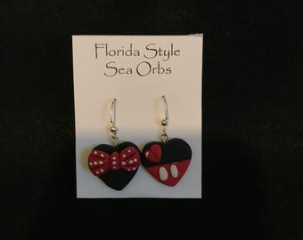 Mickey and Minnie Mouse Valentines Polymer Clay Earrings