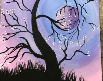 Painting Abstract Tree Holding Moon