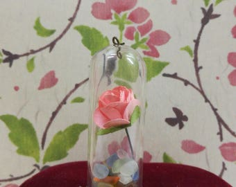 handmade rose & stone pendant