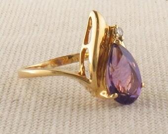 Pear Shaped Amethyst and Diamond Ring, February Birthstone Ring, Purple Stone Ring