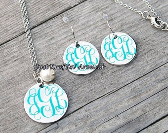 Monogram Necklace and earring set