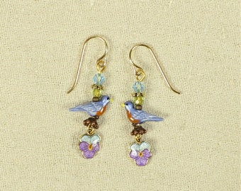Bluebird and Pansy Earrings