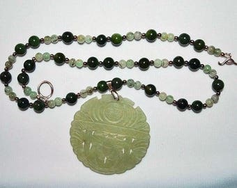 Nephrite Jade Necklace with Vintage Carved Chinese Pendant  J-1469