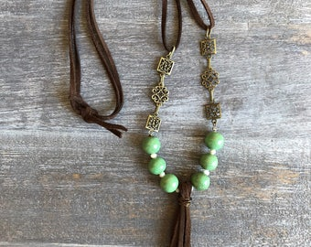 Brown & Green Tassel Necklace