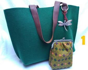 Felt bag with matching coin purse/felt bag with purse/8 colors available