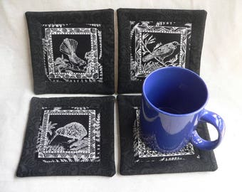 Fabric Coasters New Zealand Birds