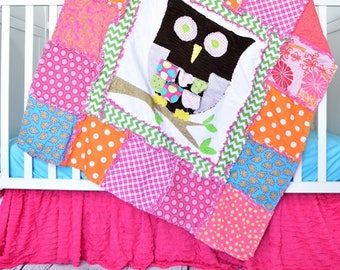 Owl Baby Blanket Quilt Owls In Tree And Flannel Minky