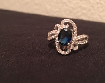 Stirling Created Sapphire and White Topaz Ring
