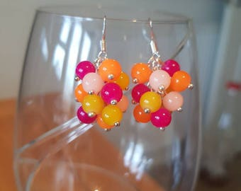Glass Bead Cluster Earrings