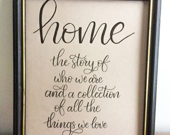 Home 8x10 hand lettered print