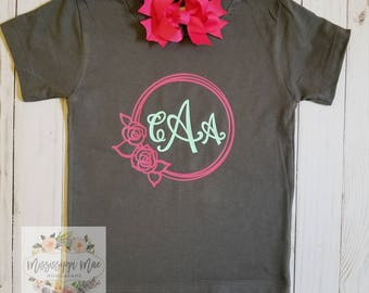 Toddler Monogram Shirt, Toddler Vinyl Shirt, Handmade, Free Shipping