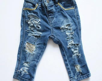 TODDLER DISTRESSED JEANS - denim / girl / boy / skinny's / baby / kids / custom jeans / patches / stressed gold