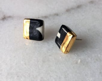 Gold Noir Square Studs