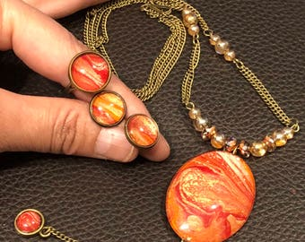 Red Planet Mars pendant, Hand painted Necklace,