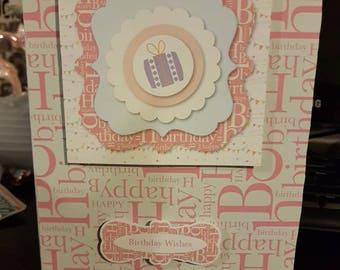 Pink happy birthday card