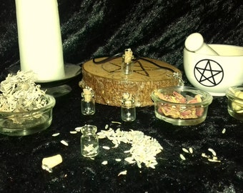 Witches Spell Bottle Pendant Set. Herbs and Necklace Charm Potion Bottles. Wiccan Pagan Gift