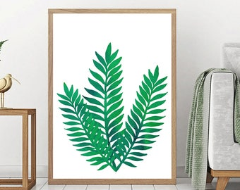 Leaf Print, Botanical Art Print, Digital Download, Tropical Leaves, Leaves Poster Print, Green Plant Wall Art, Greenery Wall Art, Nature Art