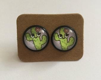 Cute Cactus Cabochon Earrings