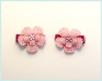 Sparkling Pink Flower Clip Set of 2