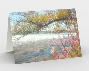 "Notecards: Watercolor landscape ""By the Flowing River"" by Malinee Ganahl. Pink flowers and tree branch by water's edge. Set of 3."