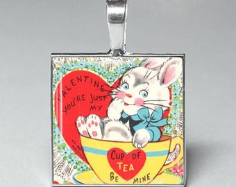 Vintage style rabbit teacup heart valentines day glass pendant necklace