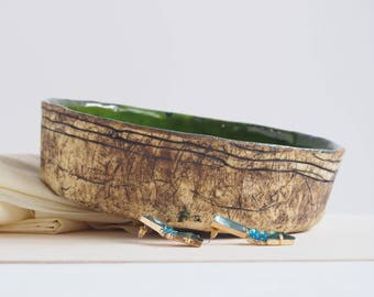 Artisan ceramic bowl, natural bowl, green bowl, handmade pottery, decorative bowl, for jewerly, for trinkets, home decor